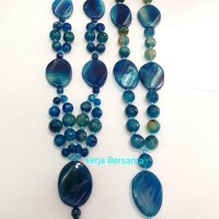kalung batu akik cutting biru liontin pipih