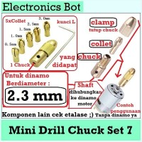 [EBS] Drill Chuck Set 2.3 mm Bor Mini Bit DC 0.5 - 3.2 mm PCB 5 Collet