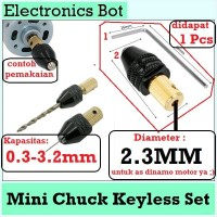 [EBS] Mini Drill Chuck Keyless Set 0.3 - 3.2 mm dan L Key Shaft 2.3 mm