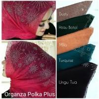 Jilbab Segiempat Organza Polka Plus / Segi Empat / Segi4