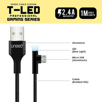 UNEED T-LED Kabel Data Fast Micro USB Fast Charging Max 2.4A - UCB33M