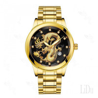 Quartz Men Dragon Watch Simple Casual Naga Gold Mewah Jam Tangan Pria