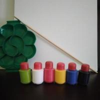 Paket Hemat Kanvas Lukis 20cm x 20cm + koas + palet + cat akrilik