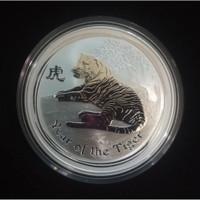 Koin Perak Australia Lunar Tiger 2010 $1 (Series II) 1 Onz