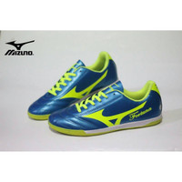 sepatu futsal mizuno fortuna biru metalic list hijau stabilo 38-44