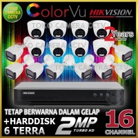 PAKET CCTV HIKVISION COLORVU 2MP 16 CHANNEL HDD 6TB