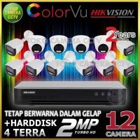 PAKET CCTV HIKVISION COLORVU 2MP 16 CHANNEL 12CAMERA HDD 4TB