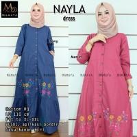 Nayla Dress Katun Bordir Busui LD110 / gamis wanita terbaru