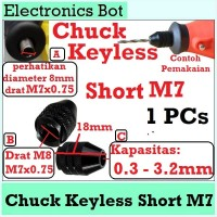[EBS] Drill Chuck Keyless M7 Short 0.3 - 3.2 mm M7x0.75 Multi Collet