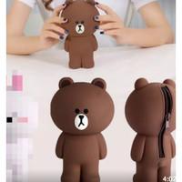 Tempat pensil dompet kosmetik line brown bear silikon import