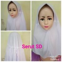 Jilbab Anak Kaos Sekolah Serut Putih SD