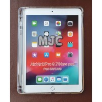 Silicon Soft Jacket iPad Air 1 With Slot Pencil Case Clear Bening