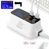 8 Port charger USB Fast Charging Smart Led Display with 1 Type C Port