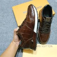 Sepatu Shoes Branded Sneakers Louis Vuitton New Brown Cocro - MIROR