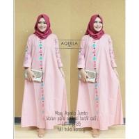 Gamis Aqeela Jumbo Maxi Dress Syari Muslimah Big Size Model Terkini