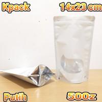 kemasan standing pouch windows putih 14x23 untuk kemasan kopi kripik