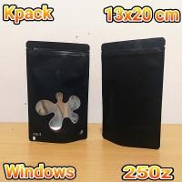 kemasan standing pouch window hitam uk 13x20 utk kemasan kopi keripik