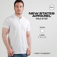 Kaos Polos New States Premium Cotton Polo Shirt 8100 WHITE,SIZE S-XL