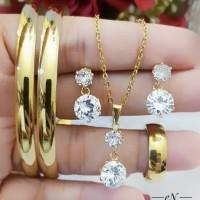 titanium set perhiasan lapis emas 24k 0243m