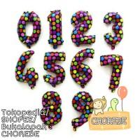 Balon Foil Angka Polkadot
