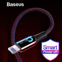 KABEL DATA IPHONE BASEUS AUTOMATIC POWER-OFF FAST CHARGING 2.4A - Mera - Hitam