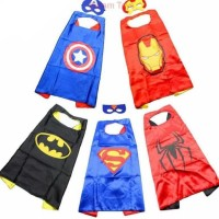 Jubah Superhero Batman Superman Captain America Anak-Anak + Topeng