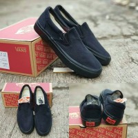 SEPATU VANS CLASSIC SLIP ON FULL BLACK PREMIUM QUALITY