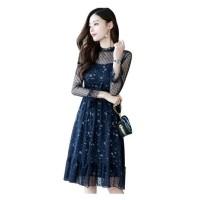 Midi party dress Korean style,bhn lace,lengan panjang,motif floral B