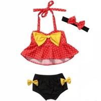 3 Pcs Baju Renang Anak/Swimsuit Mini Mouse - 2-3 tahun