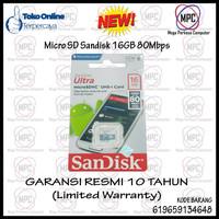 MicroSD 16GB SanDisk Ultra microSDHC Card UHS-I Class 10 (80MB/s)
