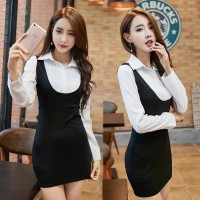 OFFICE LOOK FAKE TWO PIECE LONG SLEEVE BODYCON DRESS