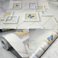Grosir Termurah Wallpaper Sticker Dinding Crem kotak kotak putih 10 M