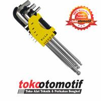 Kunci L Set Ballpoint Panjang 9 pcs 1-10 mm CRV RUSH