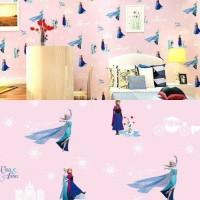 Grosir Termurah Wallpaper Sticker Dinding kartun Frozen pink 10 M