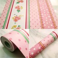 Grosir Termurah Wallpaper Sticker Dinding pink garis salur hijau 10 M
