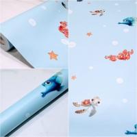 Grosir Termurah Wallpaper Sticker Dinding kartun biru soundhesip 10 M