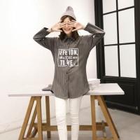 Good Quality Baju Baseball Korea Wanita Kemeja Dress Oversized Big
