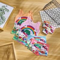 T1257 Kaos Dalam Singlet Anak & Celana Dalam Anak Boxer Hello Kitty