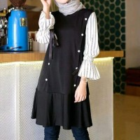 TUNIK DRESS BLOUSE CASUAL MUSLIM WANITA HITAM/ BIRU NAVY AUDI SOLLY