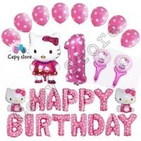 Balon foil set happy birthday / paket ulang tahun hello kitty