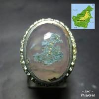 Asli Cincin Batu Lumut Suliki Gambar Motif Peta Kalimantan