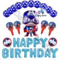 Balon foil set happy birthday / paket ulang tahun avenger