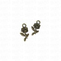 Liontin Charm Beads Logam Bunga Mawar / Rose