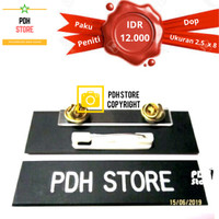 Papan nama grafir PDH Dop 2.5 x 8 cm Paku Peniti - IDR : 12K/pcs