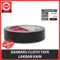 Lakban Hitam Kain ( Cloth Tape ) 24 mm ( 1 Inchi ) Daimaru