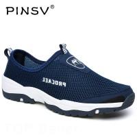 Sepatu Pria Import Pinsv Musim Panas Sneakers Mesh Kasual Biru Luar