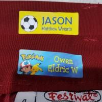 Sticker Baju Iron Label Name hanya di setrika langsung bisa nempel