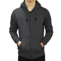 (PROMO) Jaket Polos Sweater Hoodie Zipper Polos Abu Tua Unisex