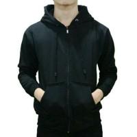(PROMO) Jaket Polos Sweater Hoodie Zipper Polos Hitam Unisex