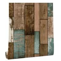 Papan kayu kombinasi 45 cm x 10 mtr ~ Wallpaper sticker dinding